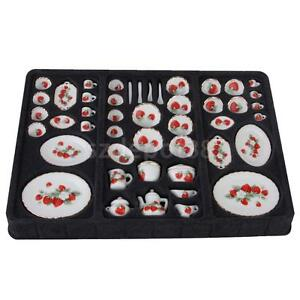 Strawberry Style Dining Ware Porcelain Set 46pcs for Doll House Dinner Table