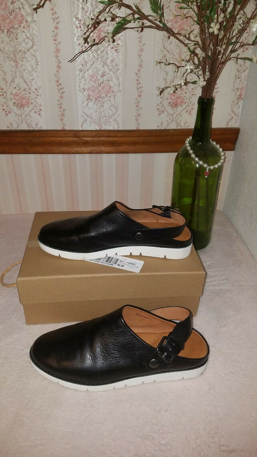 Gentle Souls Esther Clog Congreenible Leather Sneaker Mules Black size 8