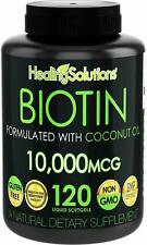 BIOTIN 10000 mcg Nail Skin Hair Growth Vitamins with Coconut Oil 120 Softgels