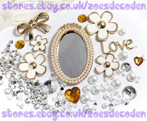 Diy Cell Phone Case Bling Gold Pearl Mirror Flower Cabochon Decoden