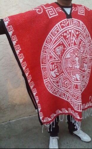 Mexican Poncho Aztec Calendar Reversible Red//White.Gaban Calendario Azteca