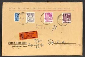 Alliierte-Besetzung-Wertbrief-Bad-Driburg-nach-Muenchen-9-12-1950