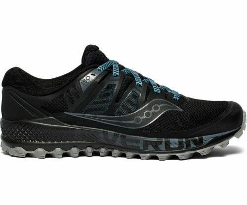 NEW Saucony Peregrine Iso Mens Black Grey Wide Trail Running Trainer S20484-1