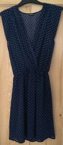 Minkie - Navy Blue and white dots Dress - one size