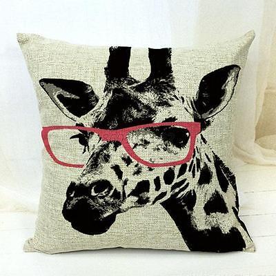 Pink Glasses Giraffe Cotton Linen Cushion Cover Home Decor Sofa Pillow Case B29