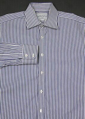 *charles Tyrwhitt* Blu/bianco Cotone A Righe Vestito Camicia (39) 15.5-35 Squisita Arte Tradizionale Del Ricamo