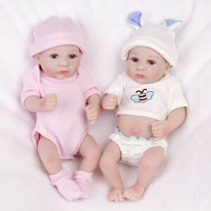 Real Twins Preemies Mini Reborn Baby Dolls Lifelike Full Vinyl Silicone Newborn Ebay