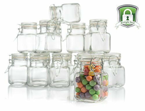Airtight Glass Jar 12pcs Leakproof Hinged Lid Kitchen Container Herb Spice Clear