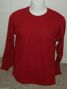 68fbda0a Mens Long Sleeve CREW NECK T Tee Shirt FRUIT OF LOOM Burgundy Small ...