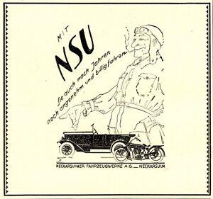 NSU-voiture-moto-Publicite-de-1926-Neckarsulm-chauffeur-fumeur-Publicite-CAR-AD