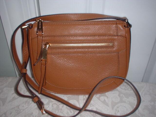 f010c0cd5316 NWT Michael Kors Julia Leather Medium Messenger Handbag Crossbody Acorn  Brown