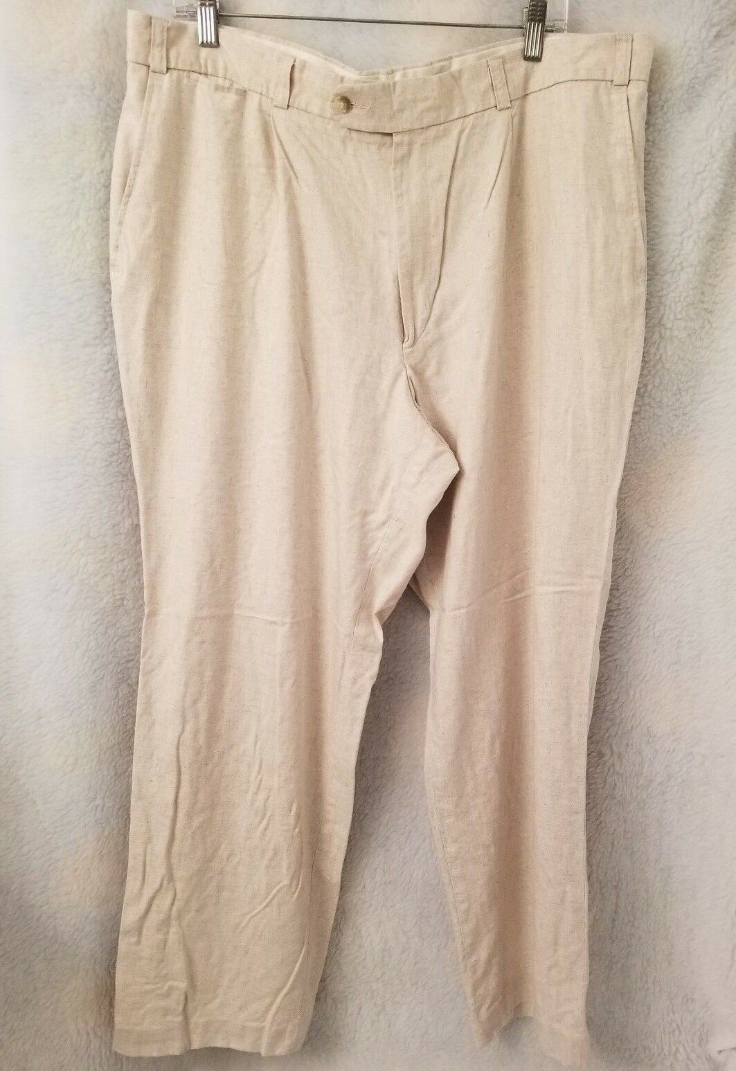 Canda Mens Light Brown 20% Linen Pleated Pants Size 54 80 (40 x 29.5)