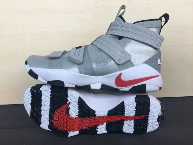 new concept 640a6 adfcf Nike Lebron James Soldier XI SFG Silver Bullet Red Mens Baskeball Shoe Size  11