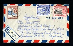 1993-saint Christopher-airmail Registered Cover St.kits To London (england)1956. Emballage Fort
