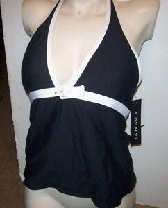 12e9ccb22b9a8 NEW La Blanca tankini solid black sz 10 SWIMSUIT bikini swim top ...