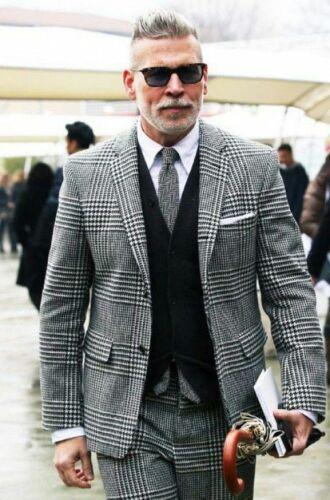 Vintage Men/'s 3 Pieces Tweed Plaid Suits Notch Lapel Slim Groom Tuxedos Wedding