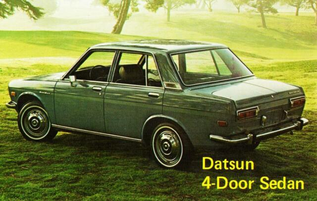Print  Green Datsun 510 Four Door Sedan Auto AD
