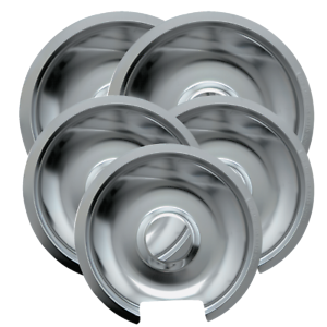 "5 Pk Drip Pan Chrome 3 Sm//6/"" /& 2 Lg//8/"""