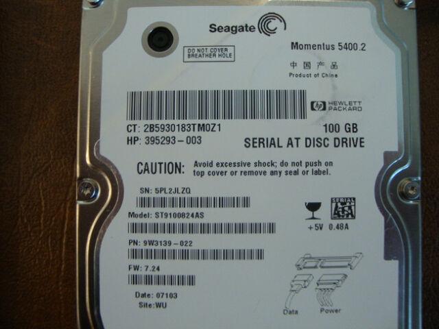 "Seagate ST9100824AS 9W3139-022 FW:7.24 Site:WU  100gb 2.5"" Sata Hard Drive"