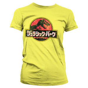 Officially-Licensed-Jurassic-Park-Japanese-Distressed-Logo-Women-T-Shirt-S-XXL