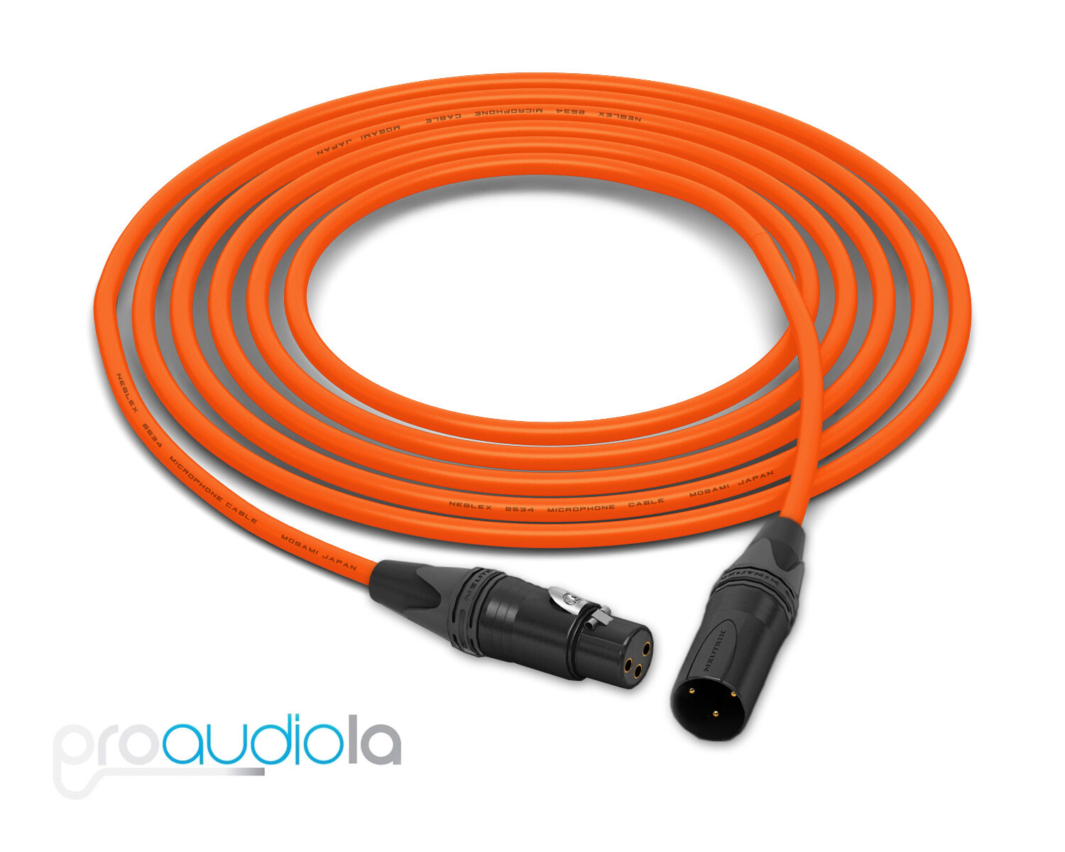 Mogami Quad 2534 Kabel Neutrik guld Xlr-F XLR-M Orange 61m 61m