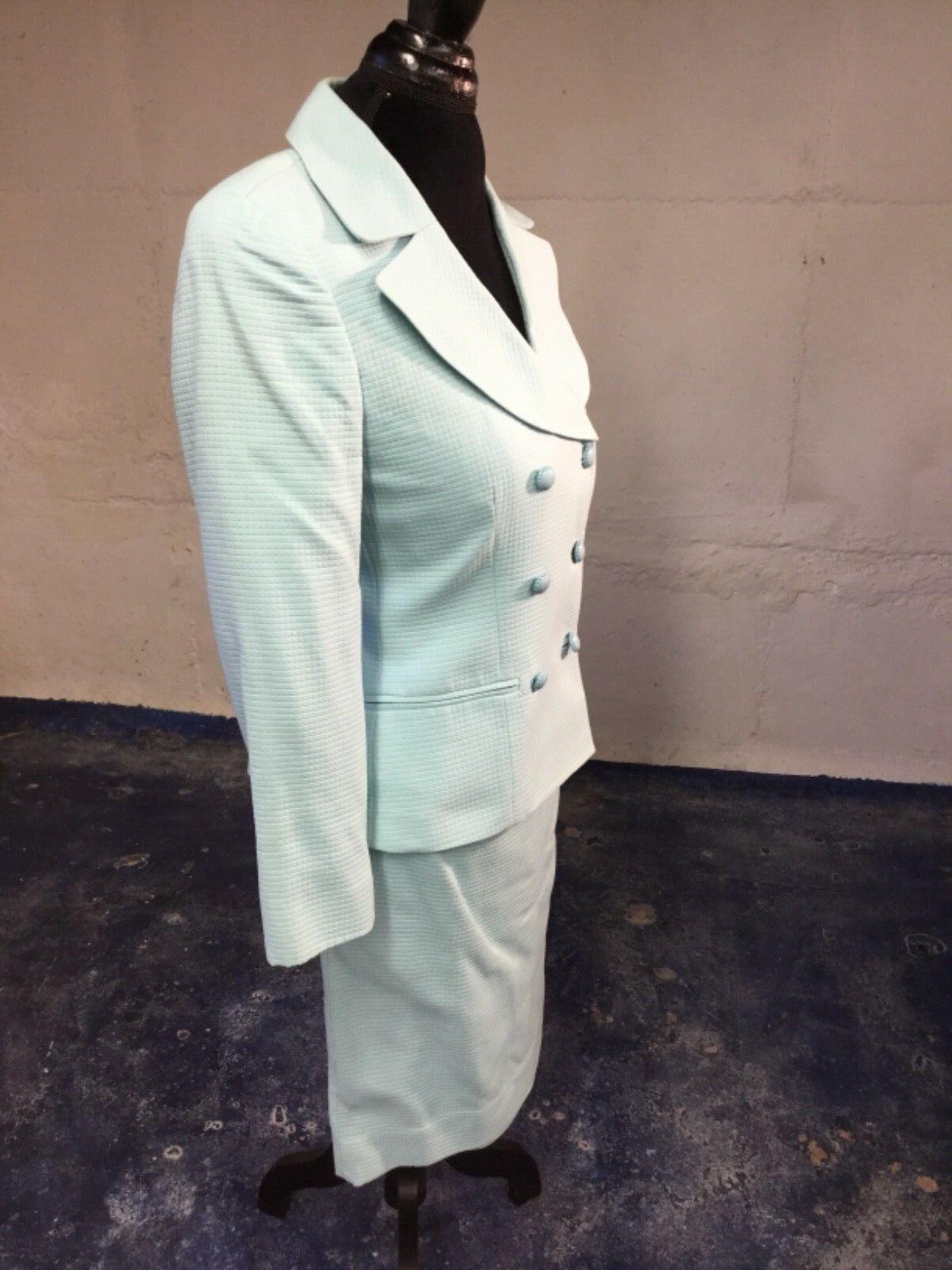 Worth New York Rare Aqua Double Breasted Cotton Cotton Cotton Suit 2 6 432b34