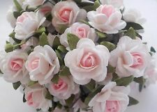 100 Lovely Handmade Mulberry Paper Roses - 15mm Pale Pink & White 2-Colour Rose