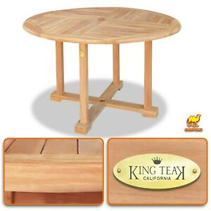 Details About Teak Wood Dining Table Yard Outdoor Camping Picnic Round  Table W Umbrella Hole