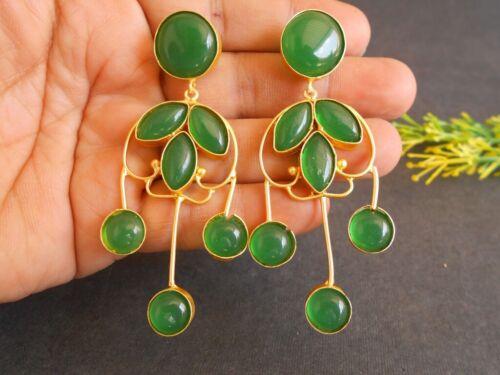 Handmade Matte Gold Plated Green Stone Tribal Party Earring Wedding Earring