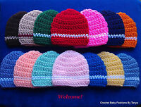 L@@K!  ADORABLE REBORN BABY HATS W/STRIPE - HAND CROCHET-SIZES: PREEMIE, 0-3 MOS