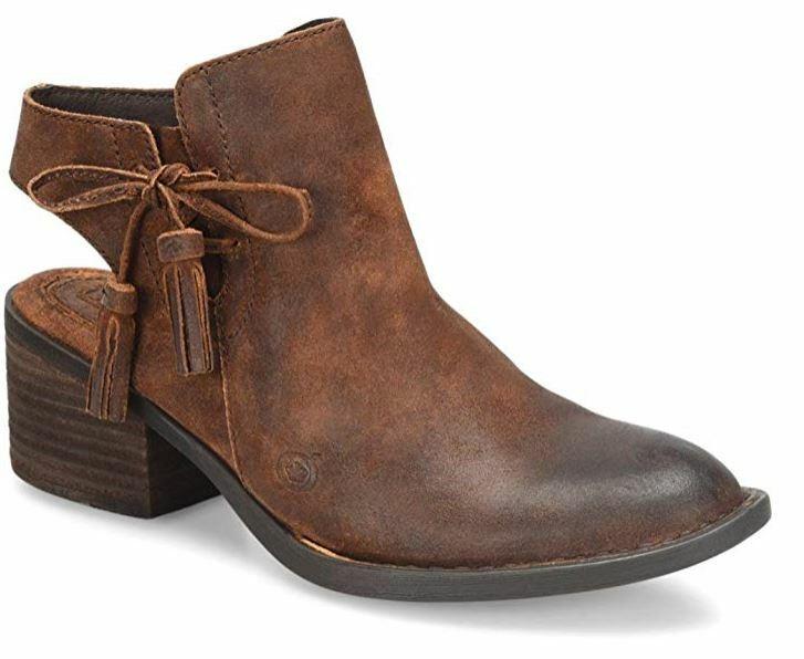 protezione post-vendita NIB BORN MONIKA RUST Distressed Genuine Genuine Genuine Leather Tassle 2  Open Block Heel avvioie  consegna lampo