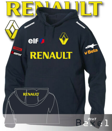 Felpa Hooded Printed Renault Racing ELF Auto Moto Team Italia Col Blu Taglia XXL