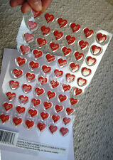60 Red Hearts & Flower Alphabets Epoxy 3D Adhesive Sticker Valentines Day Crafts