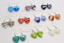 FREE wholesale lot 12Pairs Stripe Heart murano glass bead Silver Plated earrings