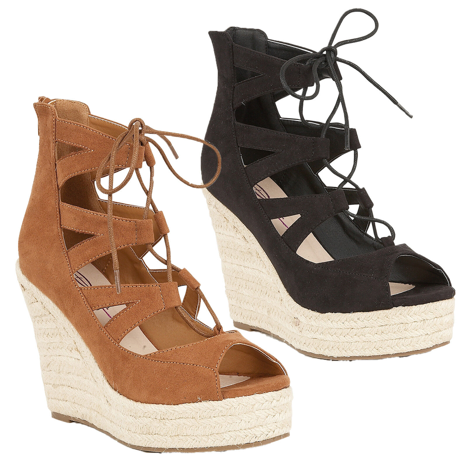 Dolcis Hilary Womens Ghillie Lace Up High Platform Wedge Heel Rope Sandals shoes
