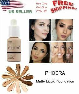 Phoera Foundation Makeup Liquid Base Brighten Long Lasting Shade Full Coverage ❣