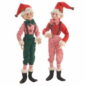 Elf Christmas Decorations Posable Elves New Raz Imports Bowtie Boys 16 Set 2 Ebay