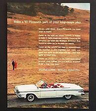 1961 Plymouth Fury Convertible Original Advertisement Photo Car Vintage AD