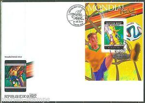GUINEA 2014 BRAZIL WORLD CUP SOCCER 2014 SOUVENIR SHEET FIRST DAY COVER