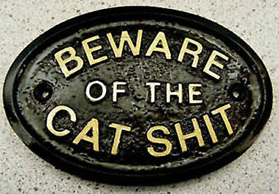 HOUSE//GATE//WALL SIGN IN BLACK WITH RAISED LETTERS SILVER /'BEWARE OF THE CAT/'