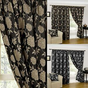 Fully Lined Ready Made Curtains Pencil Pleat Curtain Pair Black