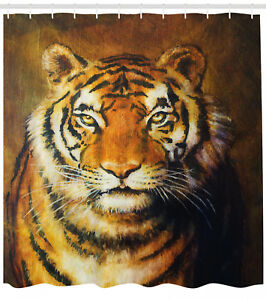 Tiger Shower Curtain Oil Painting Style Animal Print for Bathroom