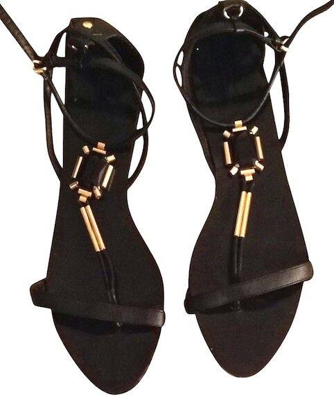 Los zapatos más populares para hombres y mujeres Descuento por tiempo limitado GENUINE ZARA WOMAN BLACK FAUX LEATHER SANDALS WITH JEWEL DETAIL NEW