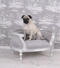 Königliches Hundebett Barock Silber Grau Hundesofa Katzenbett