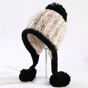 Womens-Girls-Winter-Warm-Chunky-Wool-Knit-Fur-Pom-Pom-Cute-Outdoor-Hat-Cap-UK