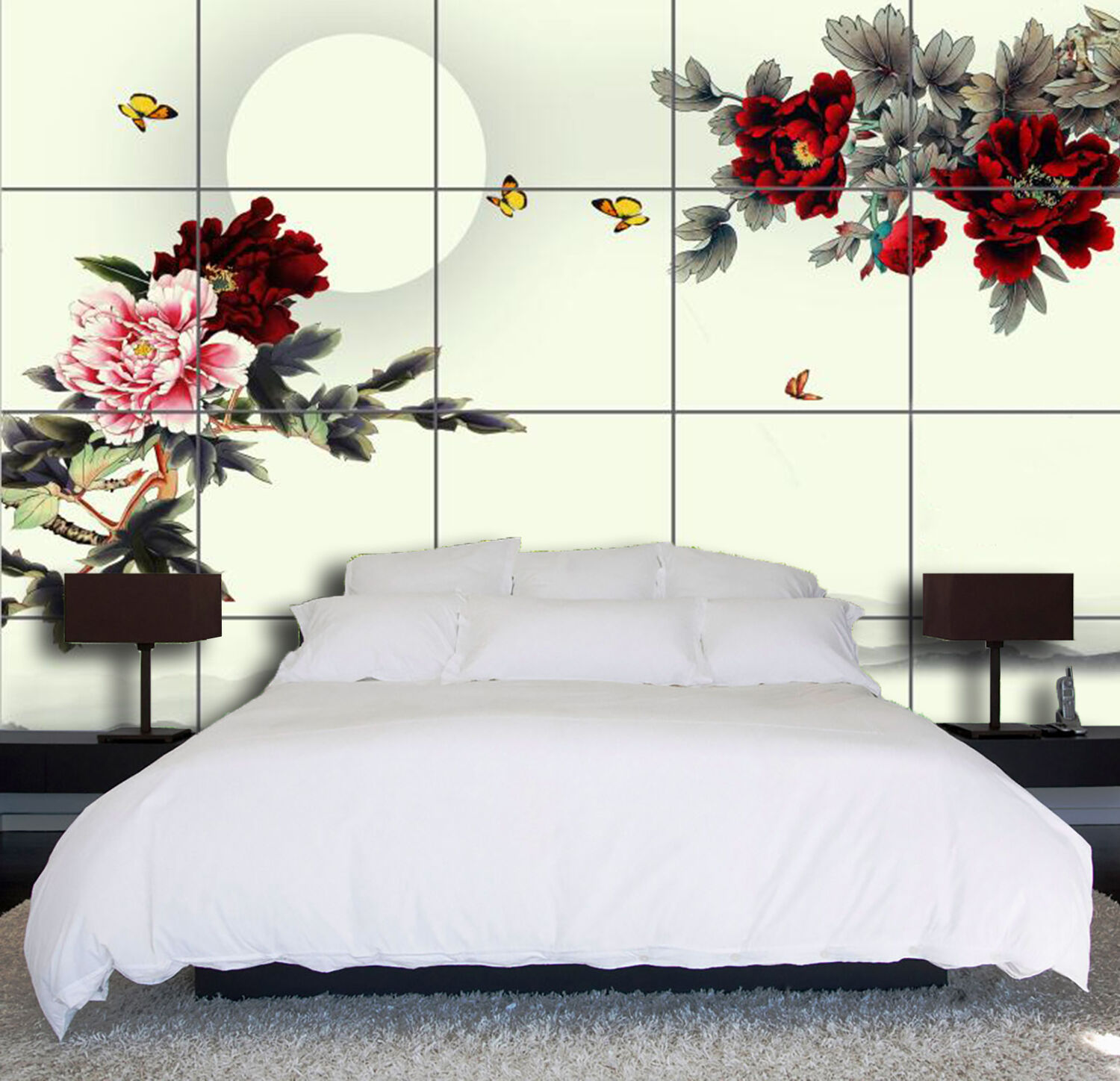 3D Flowers ROT moon large Wall Paper wallPrint Decal Wall Deco Indoor wall Mural