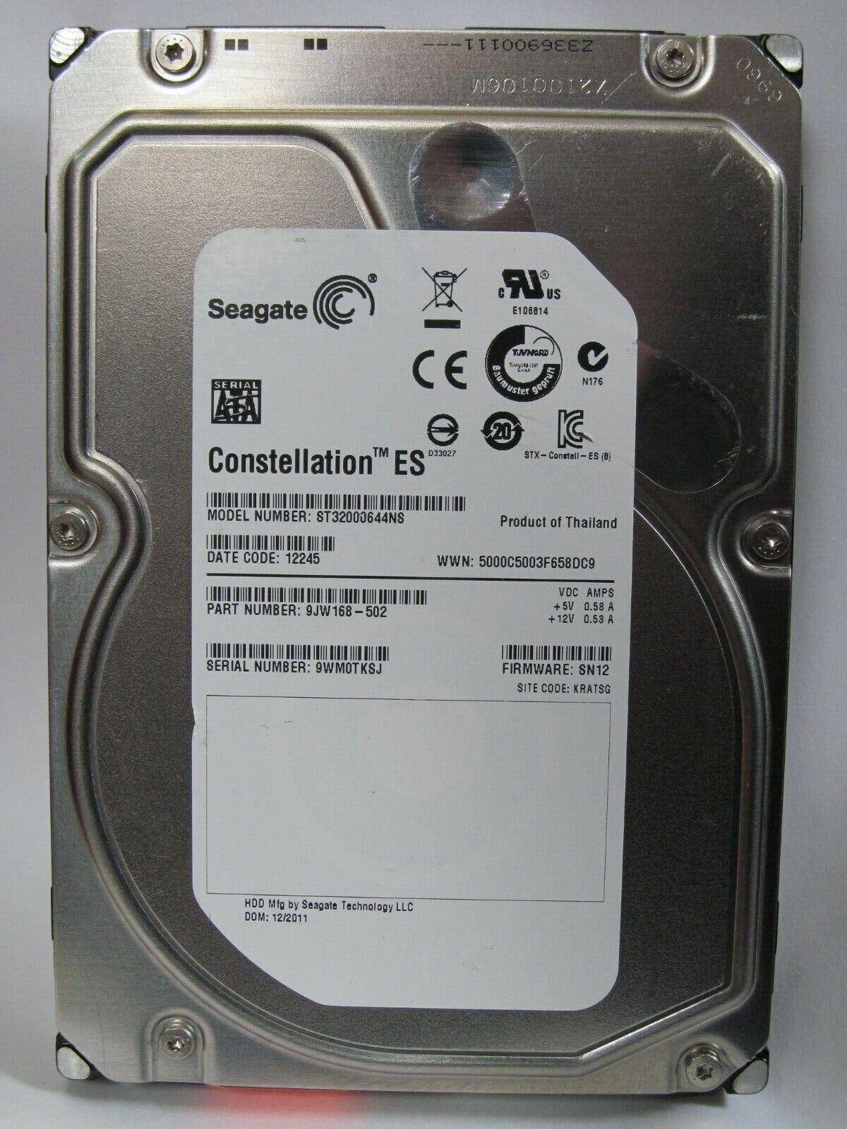 """sn12 2tb 3.5 /""""SATA HDD Seagate Constellation st32000644ns 9jw168-502 FW"""