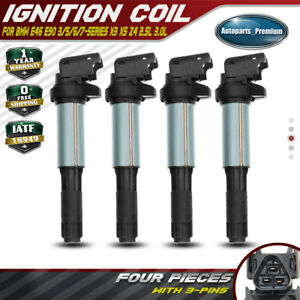 Set of 4 Ignition Coils for Mini Cooper 2007-2014 I4 1.6L N16B16 12137551260 New