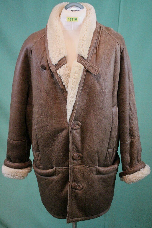 Edler Lamm-Fell Mantel 52 L shearling Zaren echt Leder Leder Leder vintage Herren braun | Spezielle Funktion  2c2b01