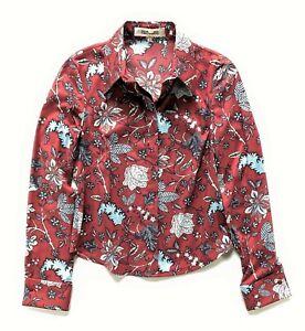 DIANE VON FURSTENBERG burgundy floral print stretch shirt - size US 2 - blouse